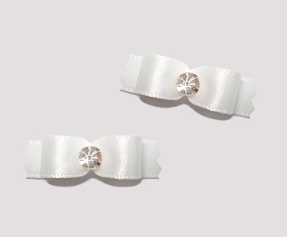 "#T8869 - 3/8"" Dog Bow - Satin, Angelic White with Rhinestone"