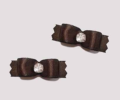 "#T8871 - 3/8"" Dog Bow - Satin, Chocolate Brown with Rhinestone"