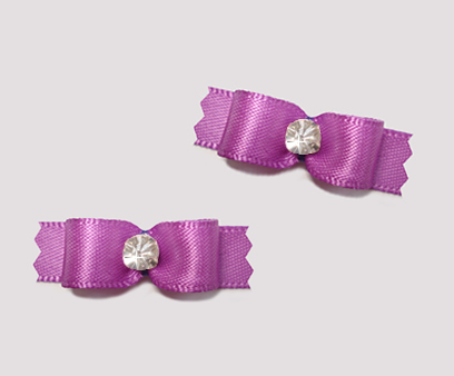 "#T8875 - 3/8"" Dog Bow - Satin, Lovely Orchid with Rhinestone"