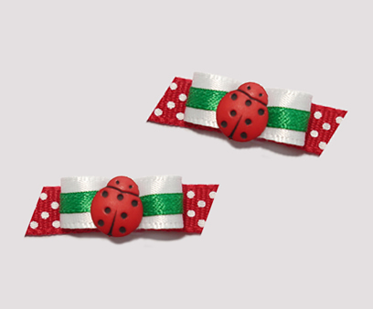 "#T8883 - 3/8"" Dog Bow - Sweet Little Ladybug, Red with Green"