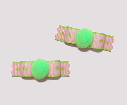 "#T8889 - 3/8"" Dog Bow - Pom Pom Delight, Pink & Lime"