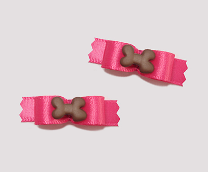 "#T8891 - 3/8"" Dog Bow - Yummy Bone on Hot Pink"