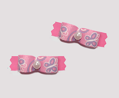 "#T8898 - 3/8"" Dog Bow - Butterfly Fun, Pink with Lavender"