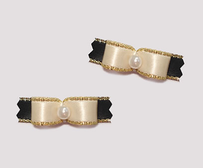 "#T8910 - 3/8"" Dog Bow - Beautiful Cream & Black with Gold, Pearl"