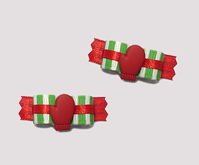 "#T8914 - 3/8"" Dog Bow - Peppermint Stripe, Red Mitten"