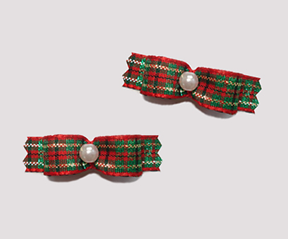 "#T8917 - 3/8"" Dog Bow - Sparkly Holiday Plaid, Red/Green/Gold"