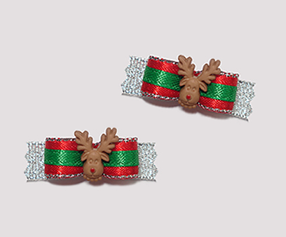 "#T8919 - 3/8"" Dog Bow - Festive Sparkle, Red Nosed Rudolph"