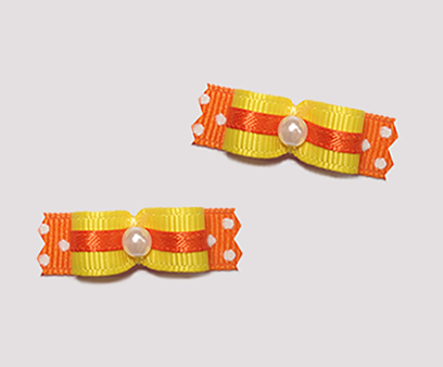 "#T8926 - 3/8"" Dog Bow - Bright Delight, Daffodil Yellow & Orange"
