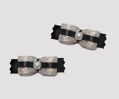 "#T8928 - 3/8"" Dog Bow - Party Glam, Sparkly Silver & Black"