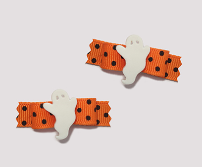 "#T8931 - 3/8"" Dog Bow - Friendly Ghost, Vibrant Orange"