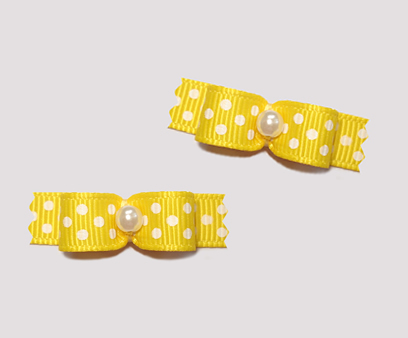 "#T8935 - 3/8"" Dog Bow - Daffodil Yellow with Tiny White Dots"