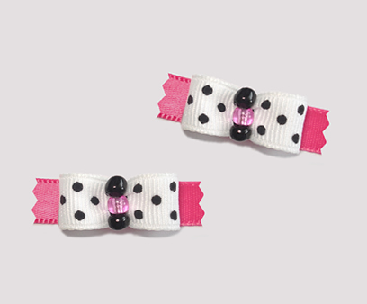 "#T8940 - 3/8"" Dog Bow - Chic Little Girly Dots"