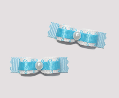 "#T8950 - 3/8"" Dog Bow - Adorable Blue on Blue, Faux Pearl"