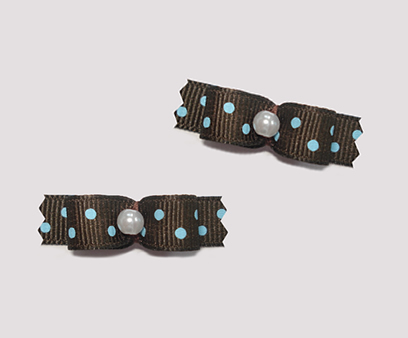 "#T8955 - 3/8"" Dog Bow - Chocolate Brown with Blueberry Dots"