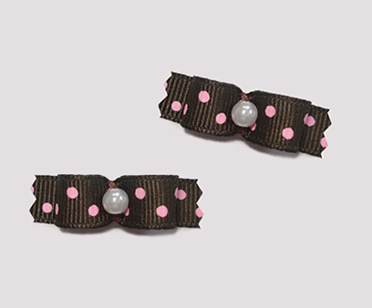 "#T8957 - 3/8"" Dog Bow - Chocolate Brown with Raspberry Dots"
