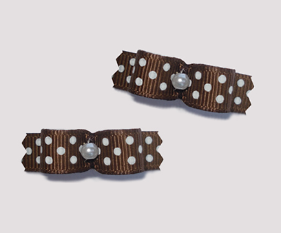"#T8964 - 3/8"" Dog Bow - Chocolate Brown with Tiny White Dots"