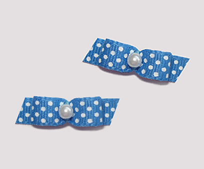 "#T8966 - 3/8"" Dog Bow - Adorable Blue with Tiny White Dots"