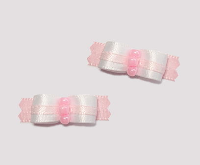 "#T8970 - 3/8"" Dog Bow - Sweet Baby Pink & White"