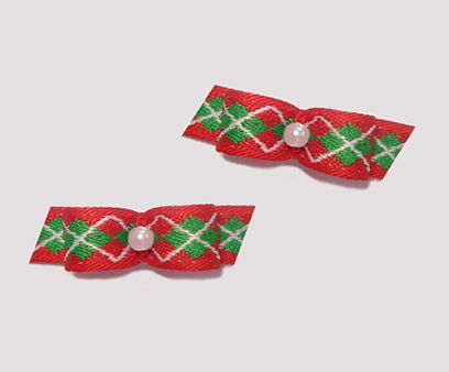 "#T8981 - 3/8"" Dog Bow - Preppy Argyle, Red & Green, Pearl"