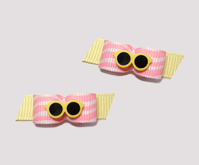 "#T8982 - 3/8"" Dog Bow - Fun Shades, Pink Squiggles, Sunny Yellow"