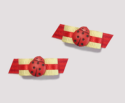 "#T8984 - 3/8"" Dog Bow - Adorable Tiny Ladybug, Red & Yellow"