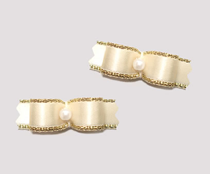 "#T8988 - 3/8"" Dog Bow - Beautiful Cream with Gold, Tiny Pearl"