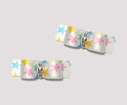 "#T8994 - 3/8"" Dog Bow - My Little Star, Multi Color, Silver"