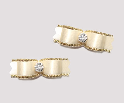 "#T8998 - 3/8"" Dog Bow - Exquisite Cream with Gold, Rhinestone"