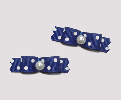 "#T9010 - 3/8"" Dog Bow - Navy with Cute White Dots, Faux Pearl"