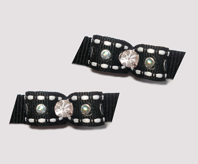 "#T9014 - 3/8"" Dog Bow - Bling, Bling - Black with Silver Sequins"