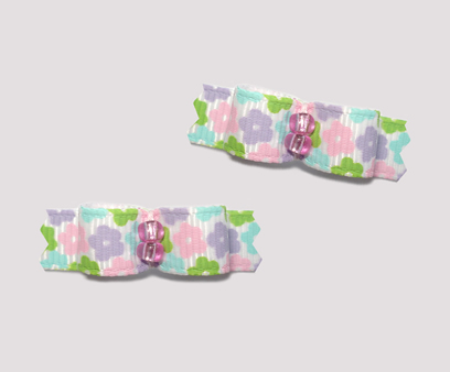 "#T9022 - 3/8"" Dog Bow - Sweet Pastel Florals"