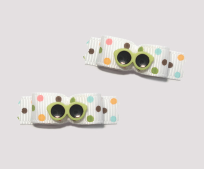 "#T9023 - 3/8"" Dog Bow - Cool Shades, Multi Color Dots"