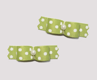 "#T9026 - 3/8"" Dog Bow - Soft Green with Tiny White Dots"