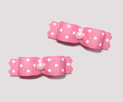 "#T9029 - 3/8"" Dog Bow - Flirty Pink with Tiny White Dots"