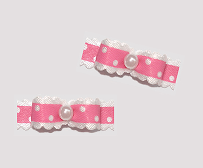 "#T9047 - 3/8"" Dog Bow - Country Cottage Ruffle, Carnation Pink"