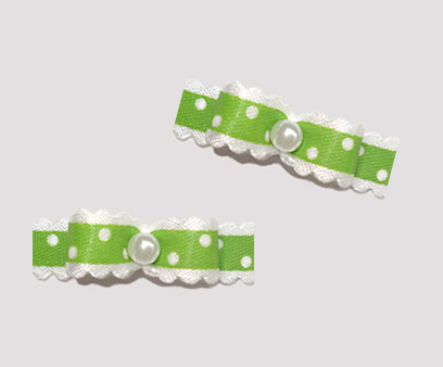 "#T9049 - 3/8"" Dog Bow - Country Cottage Ruffle, Asparagus Green"