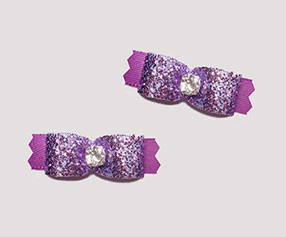 "#T9057 - 3/8"" Dog Bow - Gorgeous Glitter, Orchid Purple"
