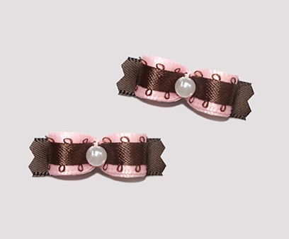 "#T9060 - 3/8"" Dog Bow - Soft Pink with Chocolate Brown"