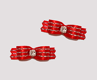 "#T9064 - 3/8"" Dog Bow - Glamorous Red Sparkle, Rhinestone"