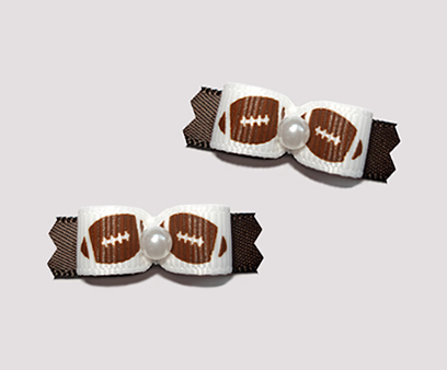 "#T9068 - 3/8"" Dog Bow - Football Fever, on Brown"