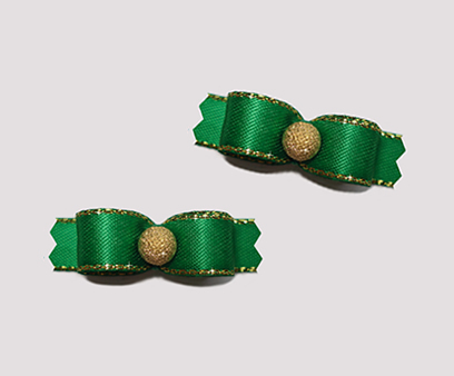"#T9071 - 3/8"" Dog Bow - Emerald Green, Gold Stardust"