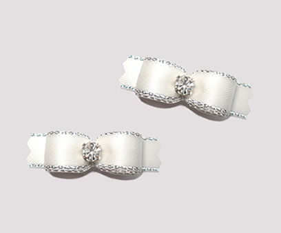 "#T9073 - 3/8"" Dog Bow - Angelic White, Silver Edge, Rhinestone"