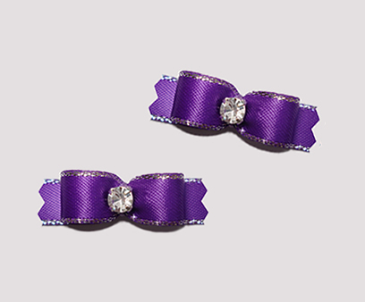 "#T9077 - 3/8"" Dog Bow - Royal Purple, Silver Edge, Rhinestone"