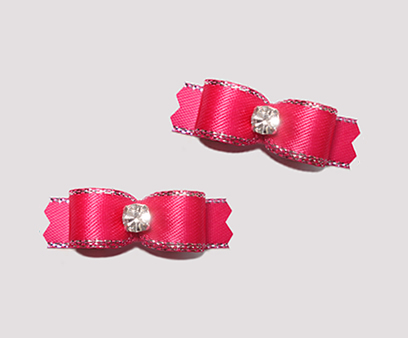"#T9078 - 3/8"" Dog Bow - Shocking Pink, Silver Edge, Rhinestone"