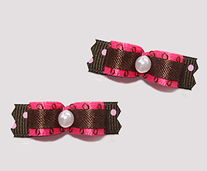 "#T9086 - 3/8"" Dog Bow - Hot Pink/Brown with Strawberry Sprinkle"