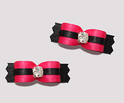 "#T9089 - 3/8"" Dog Bow - Sassy Hot Pink/Black, Rhinestone"