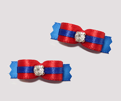 "#T9091 - 3/8"" Dog Bow - Classic Red/Blue, Rhinestone"