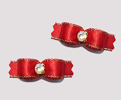 "#T9092- 3/8"" Dog Bow - Classic Red with Gold Edge, AB Rhinestone"