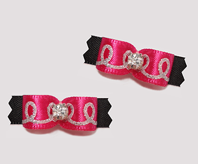 "#T9093 - 3/8"" Dog Bow - Swirly Sparkles, Hot Pink/Black"