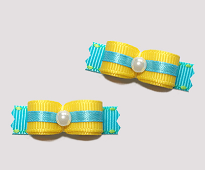 "#T9094 - 3/8"" Dog Bow - Summer Fun, Daffodil Yellow/Aqua Blue"